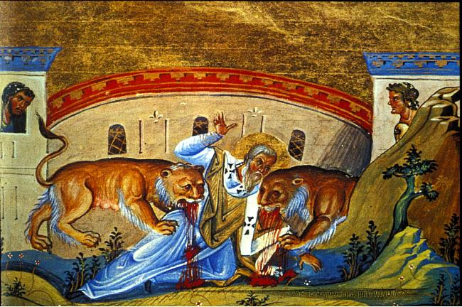 image of St. Ignatius of Antioch being eaten by the lions in Rome. 107 AD