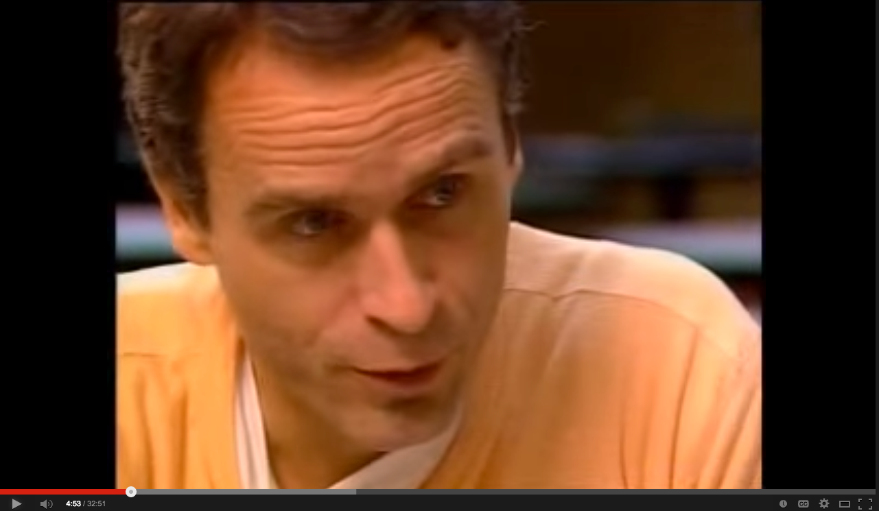 image of Ted Bundy warning of pornography