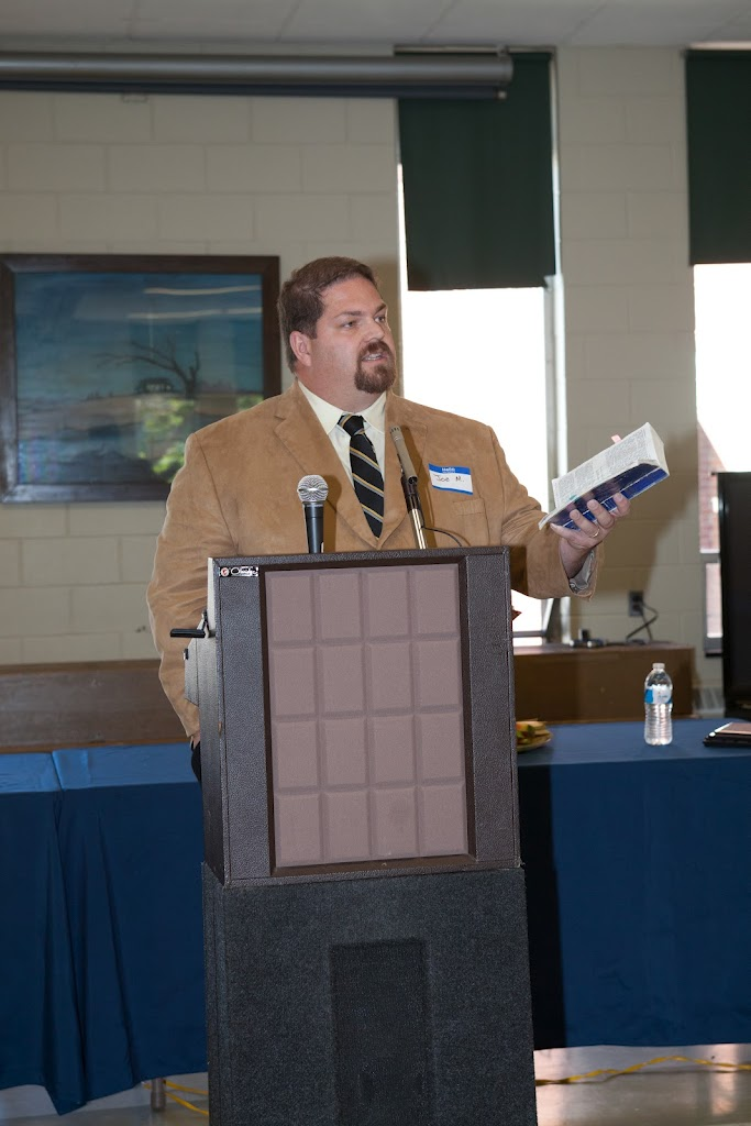 Image of Joe McClane speaking at the Catholic Men's Breakfast in Worcester, MA.