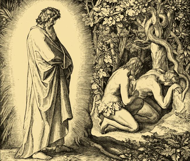 Adam and Eve are given fire by God