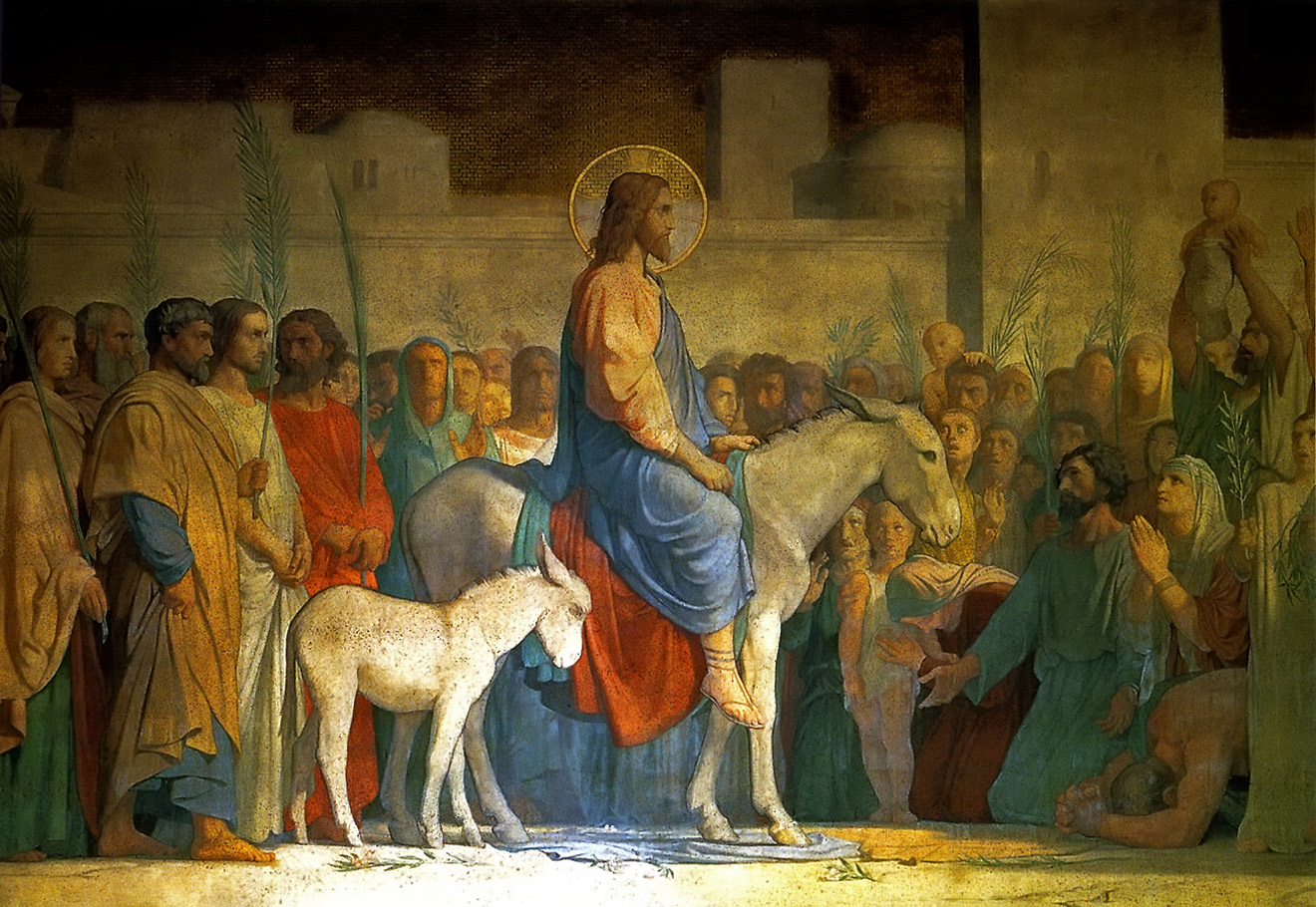 Image of Jesus riding the donkey